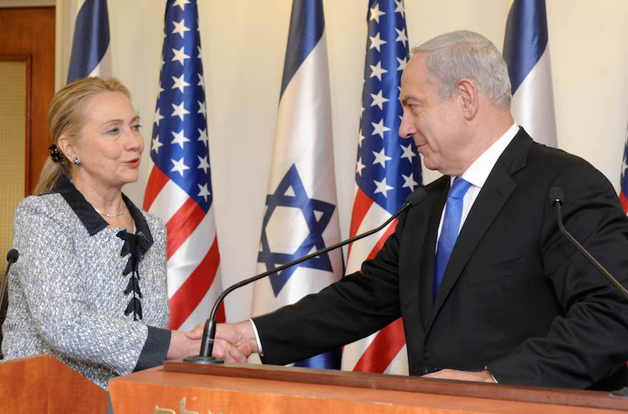Hillary Clinton meeting with Israeli Prime Minister Benjamin Netanyahu at the prime minister's office in Jerusalem, Israel,  Nov. 20, 2012. (Avi Ohayon/GPO via Getty Images)